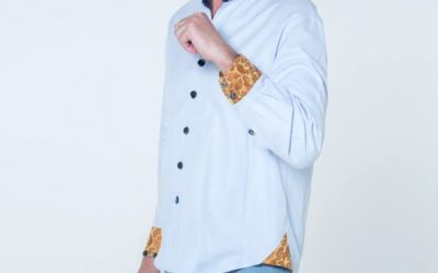 Blue designer button-up shirt