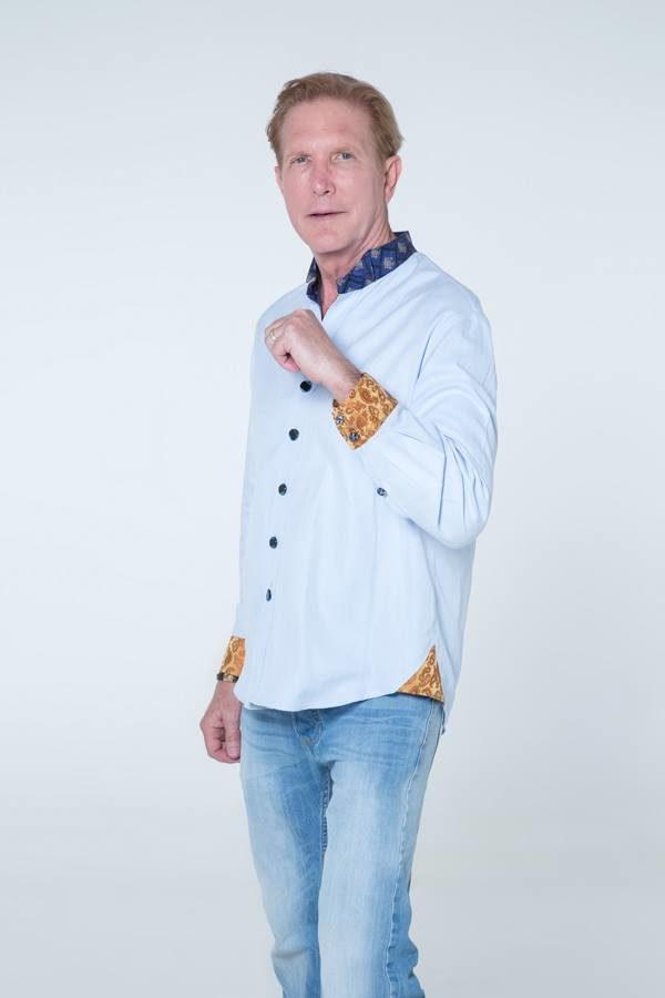 Blue designer button-up shirt